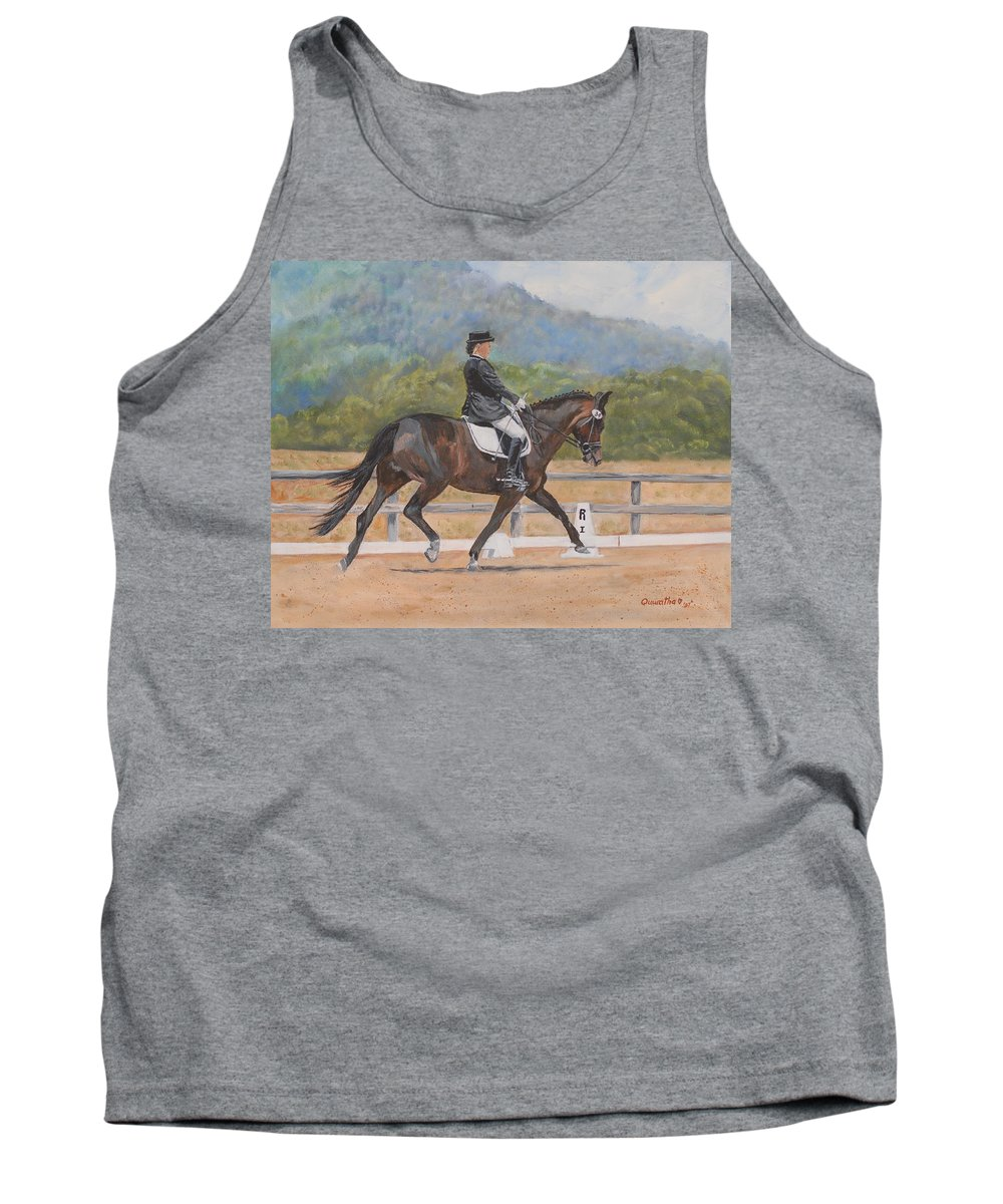 Horse Tank Top featuring the painting Donnerlittchen by Quwatha Valentine