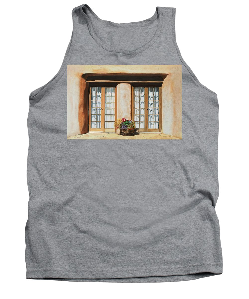 Usa Tank Top featuring the painting Doors Of Santa Fe by Mary Rogers