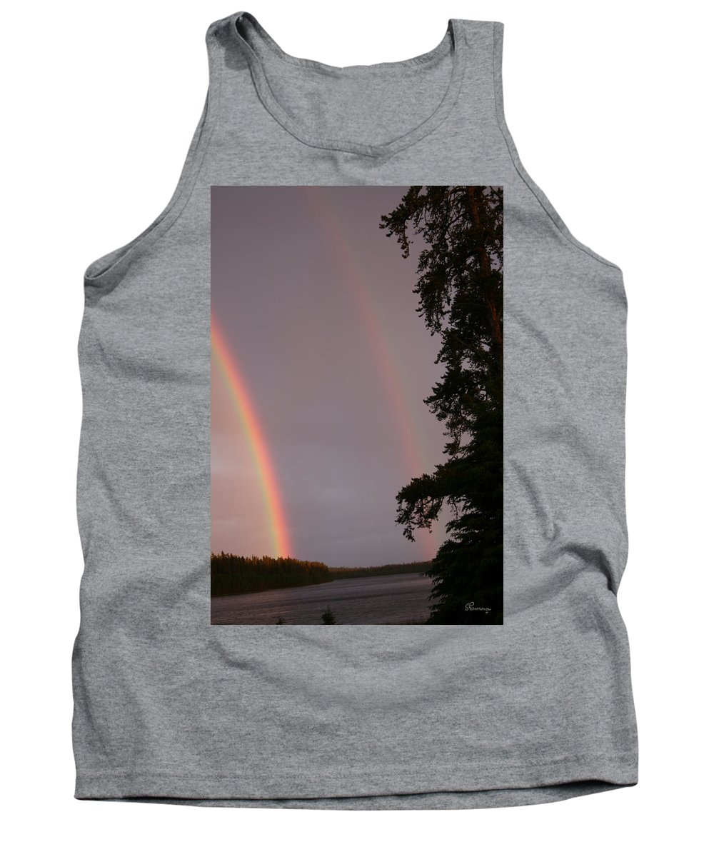 Rainbow Sky Rain Trees Sunshine Water Lake Nature Piprell Lake Tank Top featuring the photograph Double Rainbow by Andrea Lawrence
