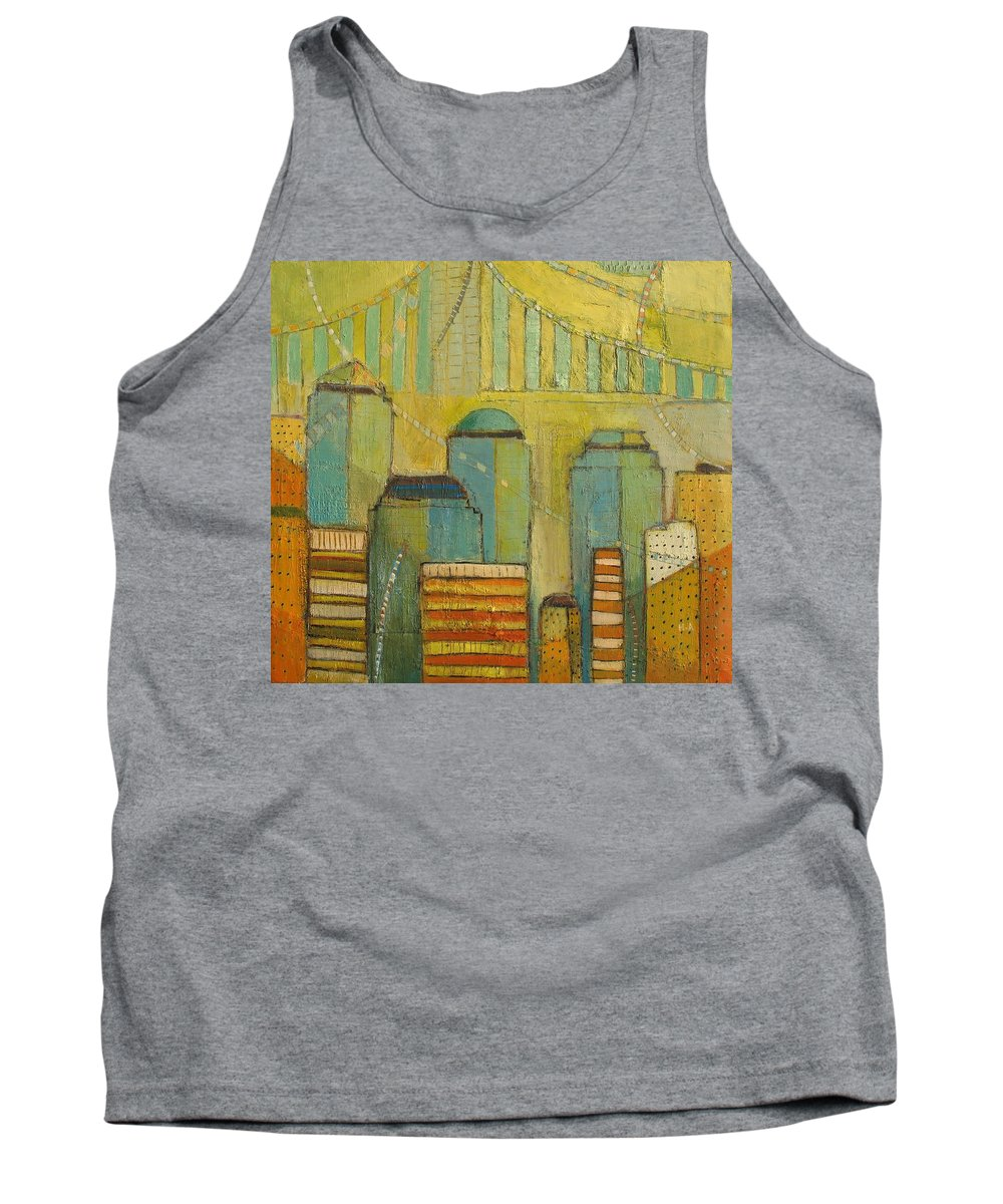 Tank Top featuring the painting Downtown Manhattan by Habib Ayat