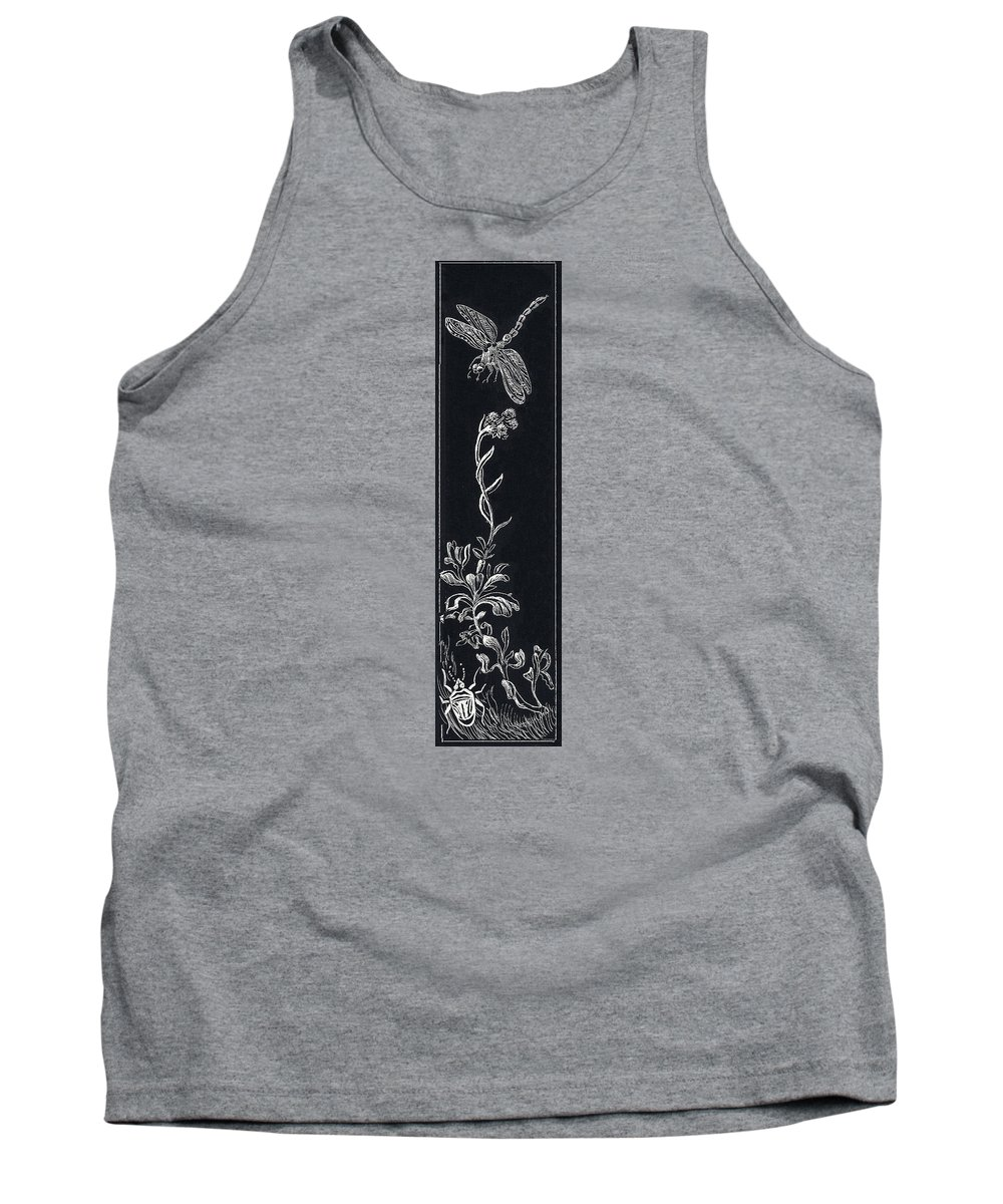 Floral Tank Top featuring the drawing Dragonfly With Catspaw And Bug by Dawn Senior-Trask