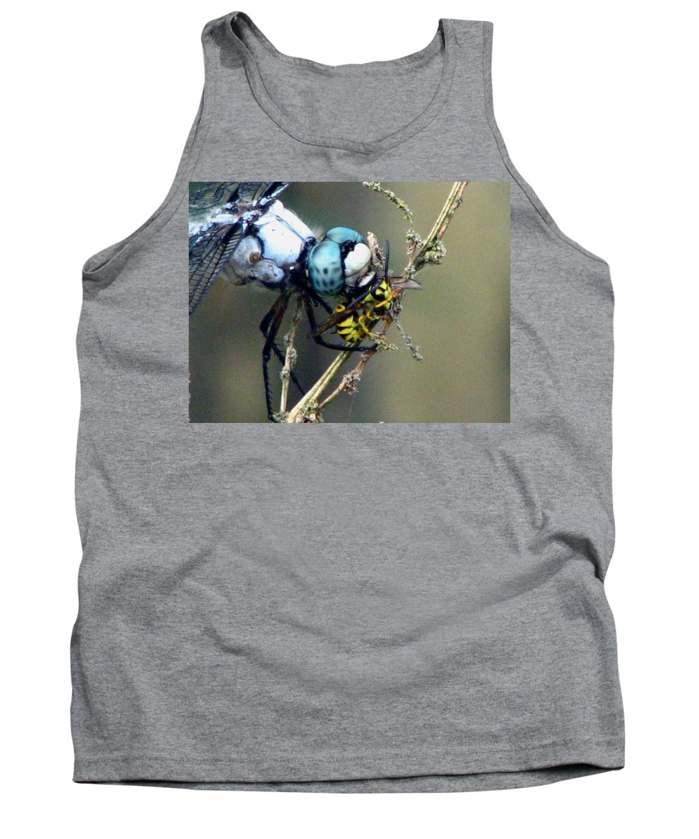 Dragonfly Tank Top featuring the photograph Dragonfly With Yellowjacket 4 by J M Farris Photography
