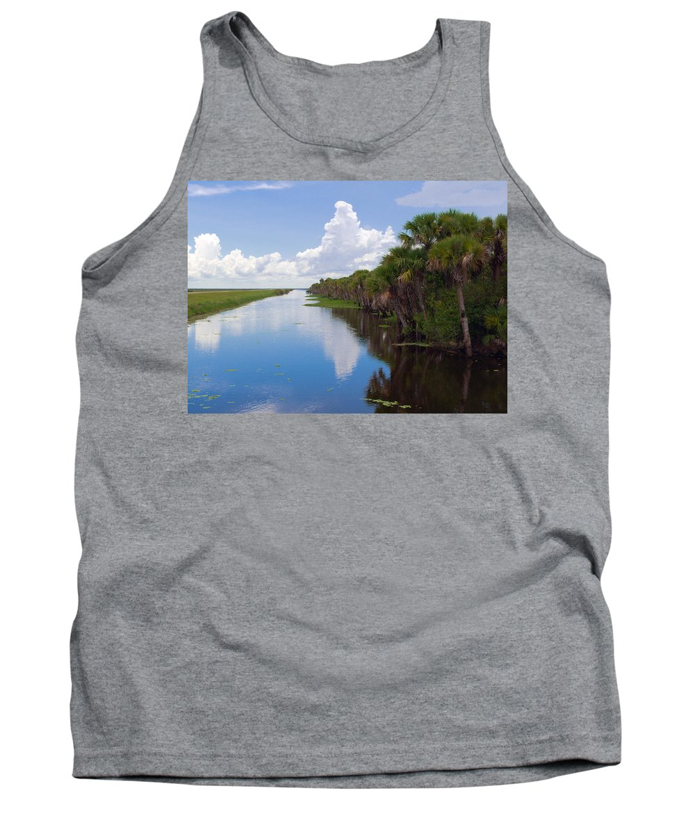 Florida; Water; Canal; Stick; Marsh; Drowned; Trees; Drown; Fellsmere; Sebastian; River; Indian; Clo Tank Top featuring the photograph Drainage Canals Make Farming Possible In Florida by Allan Hughes