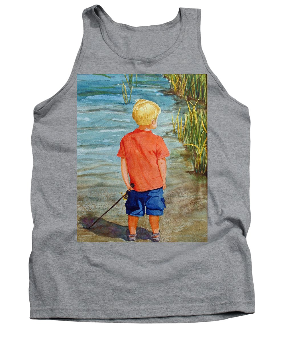 Fishing Tank Top featuring the painting Dreaming Of The Big One by Anna Lohse