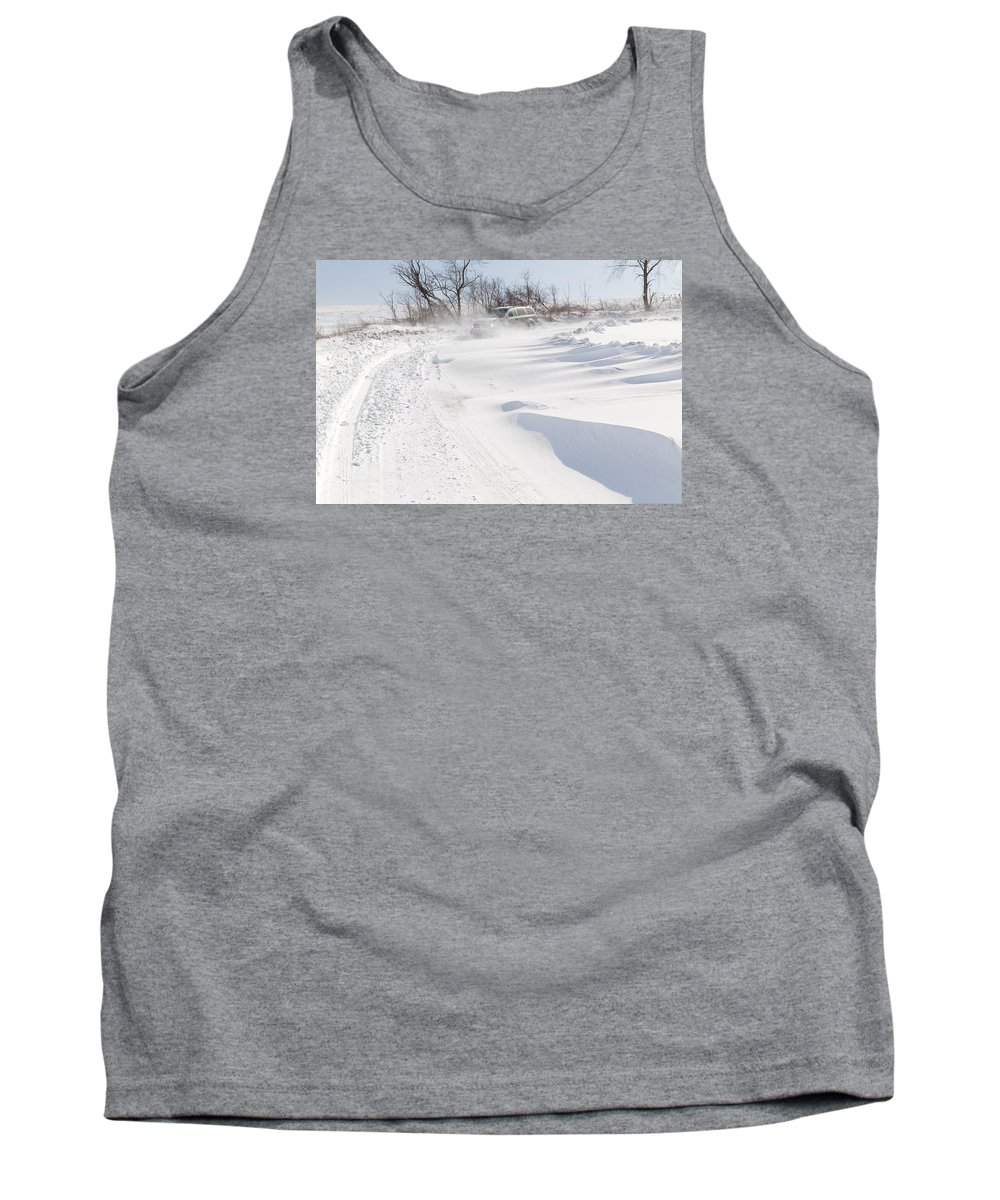 Snow Tank Top featuring the photograph Driving In Drifting Snow by Delmas Lehman