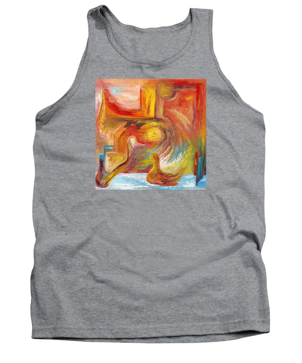 Duck Tank Top featuring the painting Duck The Alchemist by Karina Ishkhanova