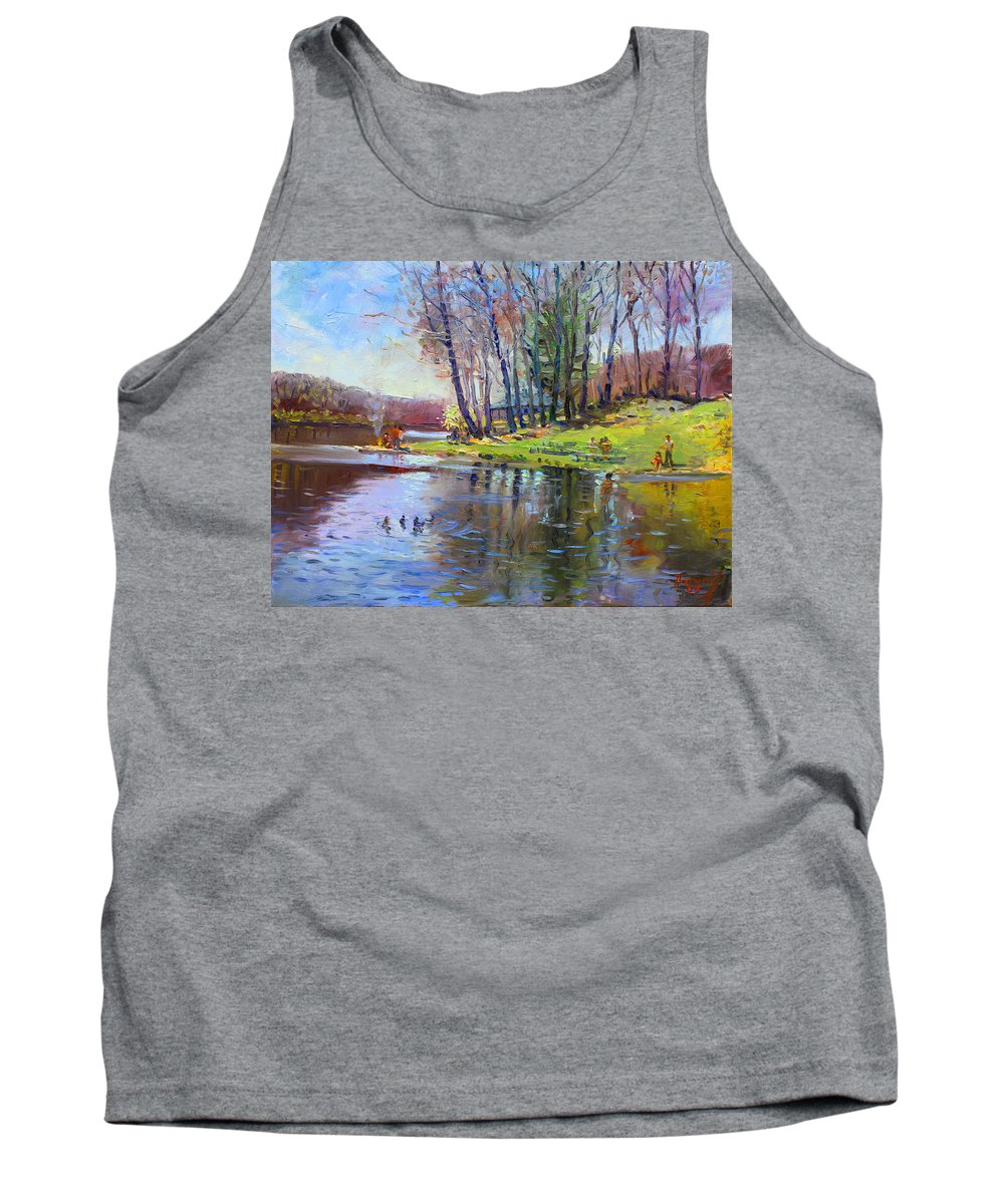 Landsape Tank Top featuring the painting Early Spring In Bear Mountain by Ylli Haruni