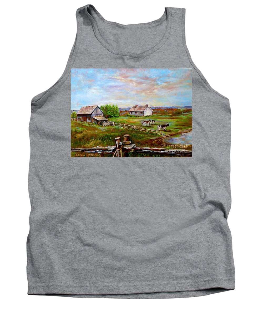 Ile D'orleans Tank Top featuring the painting Eastern Townships Quebec Country Scene by Carole Spandau