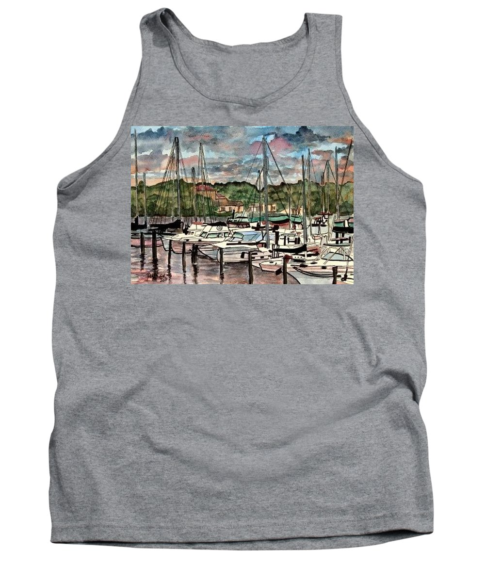 Sailboat Tank Top featuring the painting Eau Gallie Seascape painting by Derek Mccrea