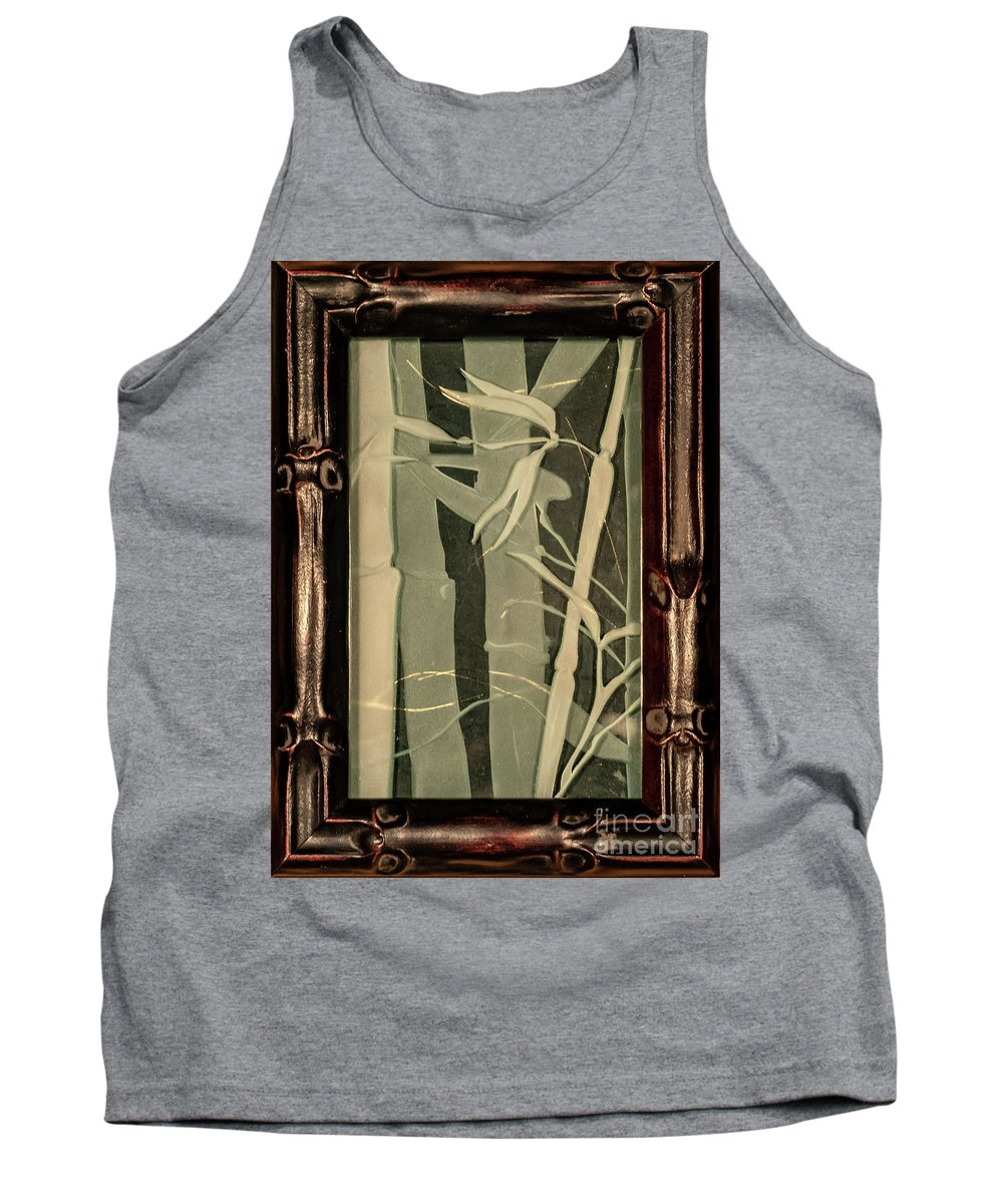 Bamboo Tank Top featuring the glass art Eclipse Bamboo With Frame by Alone Larsen