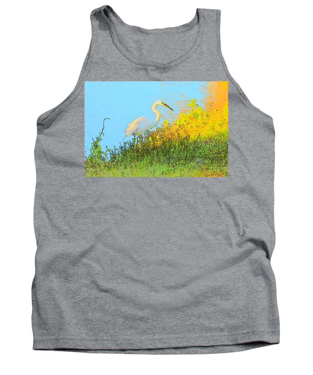 Egret Tank Top featuring the photograph Egret In The Lake Shallows by Patricia Twardzik
