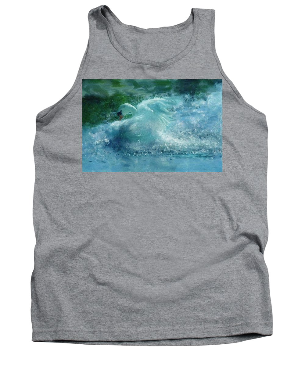 Impressionism Tank Top featuring the painting Ein Schwan - The Swan by Georgiana Romanovna