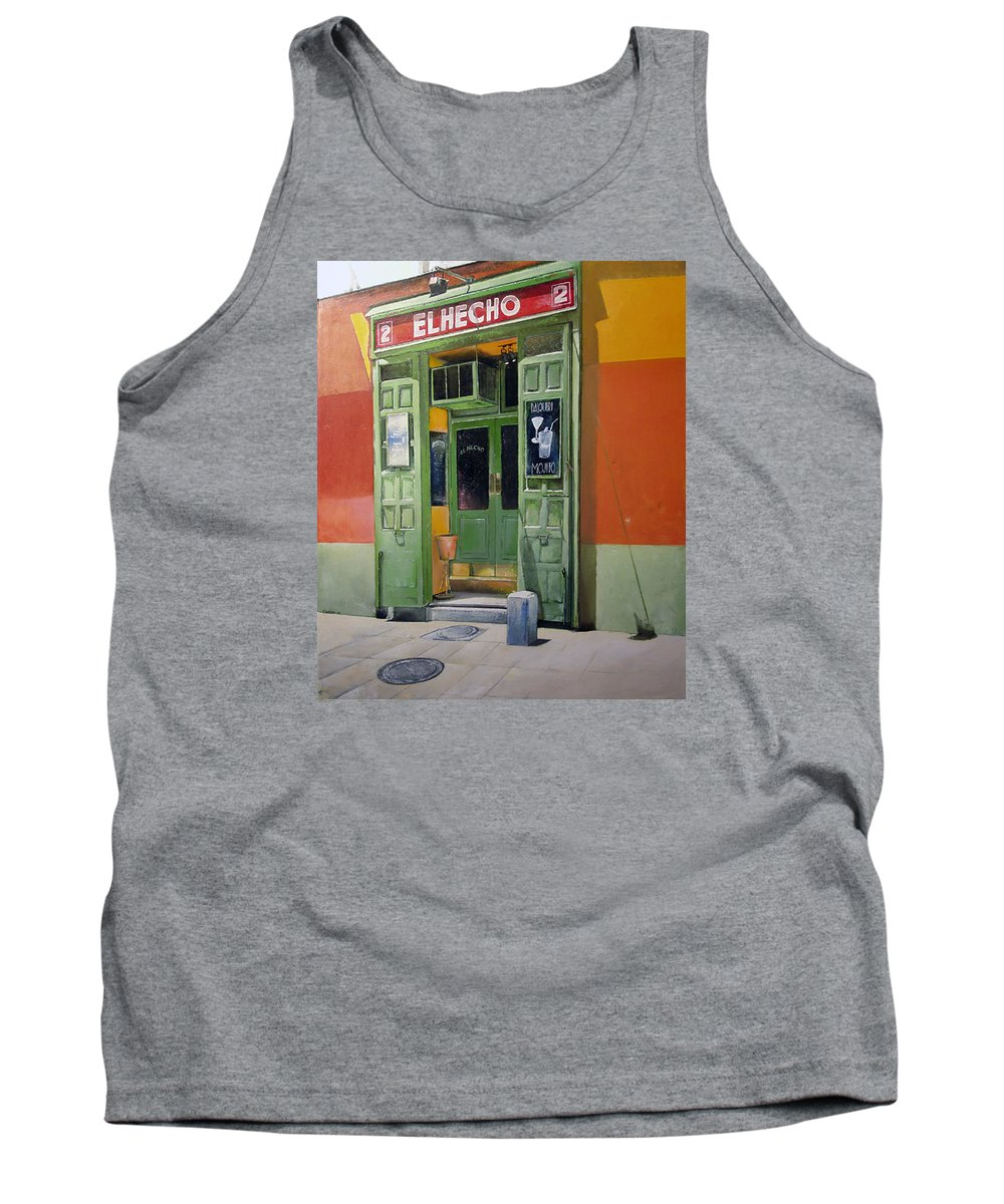 Hecho Tank Top featuring the painting El Hecho Pub by Tomas Castano