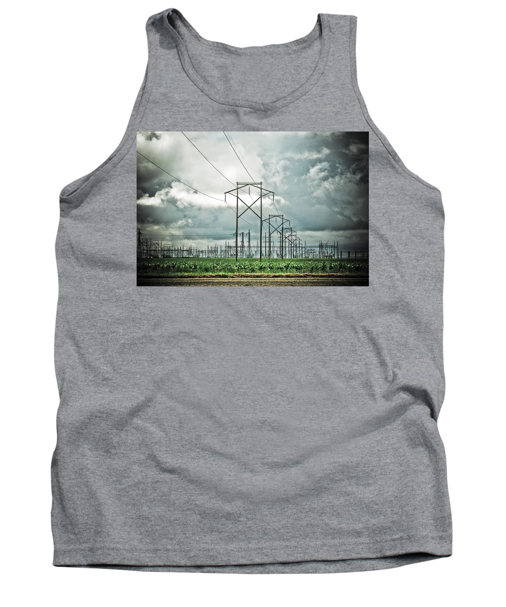 Electric Tank Top featuring the photograph Electric Lines And Weather by Marilyn Hunt