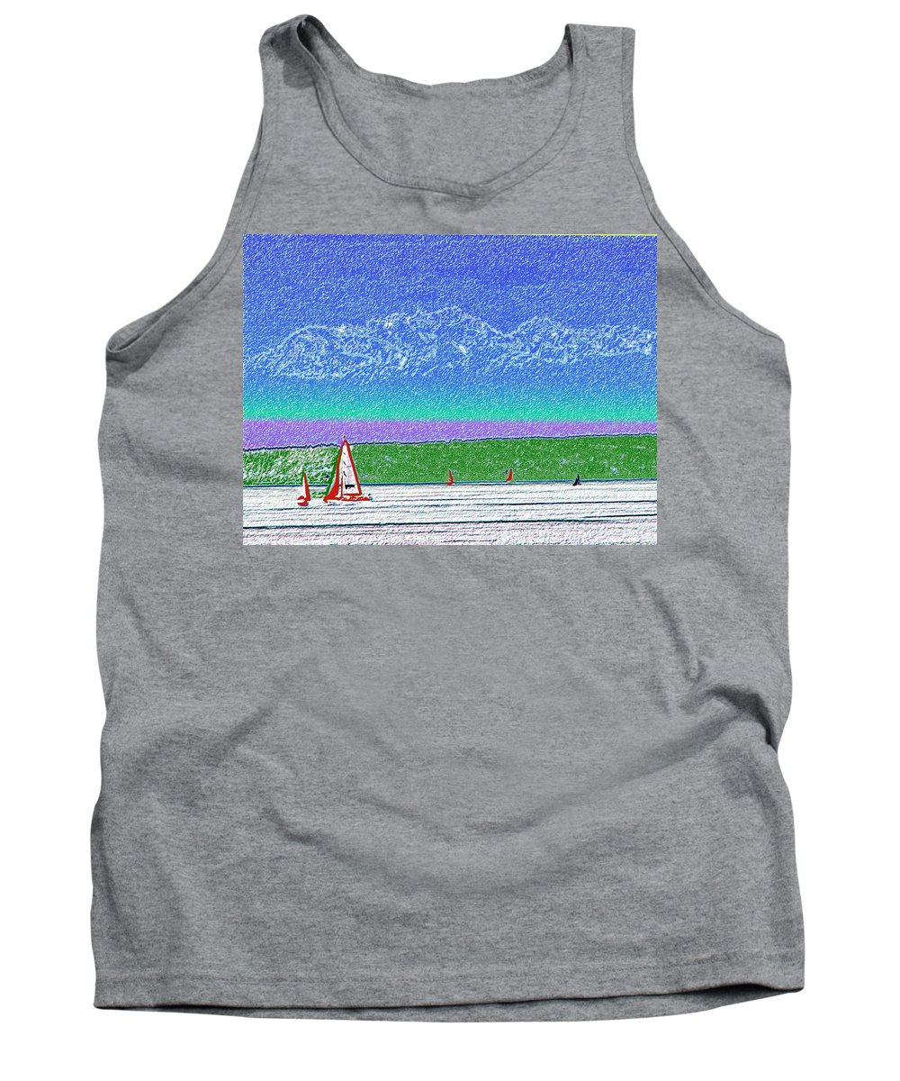 Seattle Tank Top featuring the digital art Elliott Bay Sail by Tim Allen