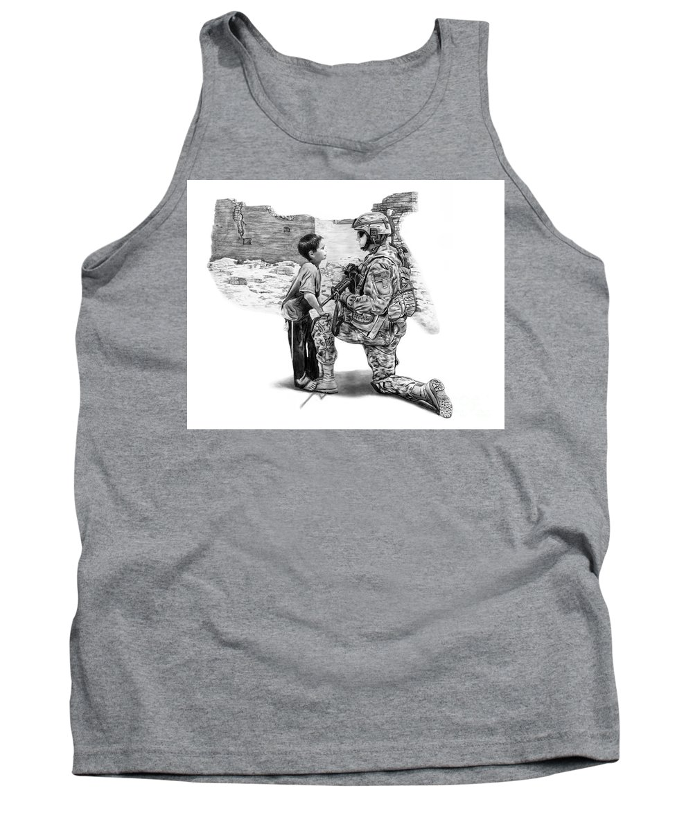 Empty Pockets Tank Top featuring the drawing Empty Pockets by Peter Piatt
