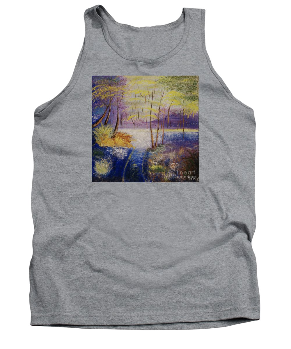 Landscape Tank Top featuring the painting Enchanted Forest by Renata Marzec