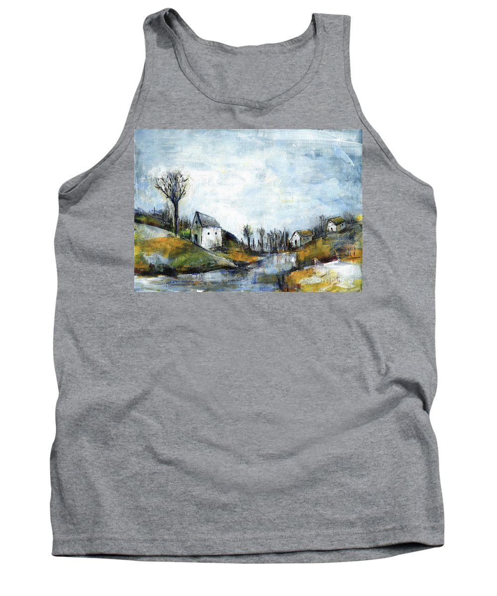 Landscape Tank Top featuring the painting End of winter - acrylic landscape painting on cotton canvas by Aniko Hencz