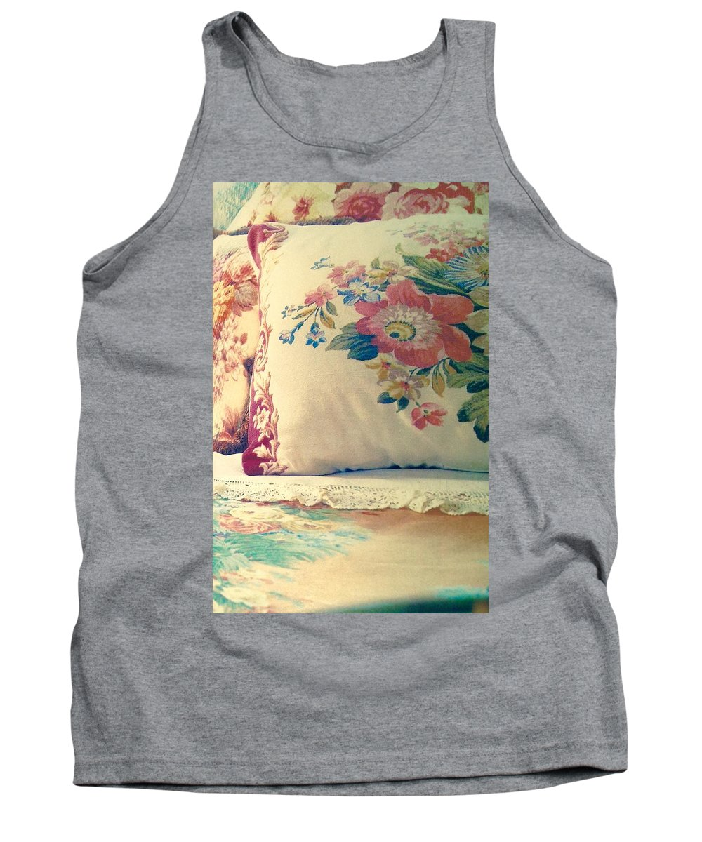 Tank Top featuring the photograph English Chintz With Green Tone by Jacqueline Manos
