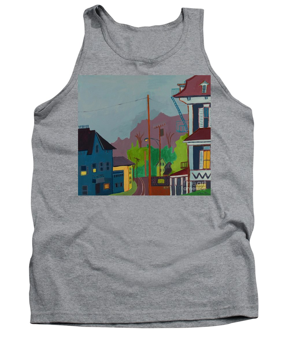 Town Tank Top featuring the painting Evening In Town Chelmsford Ma by Debra Bretton Robinson