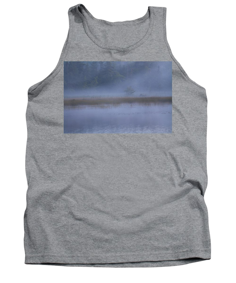Misty Lake Tank Top featuring the photograph Evening Mist In Powder Blue by Irwin Barrett