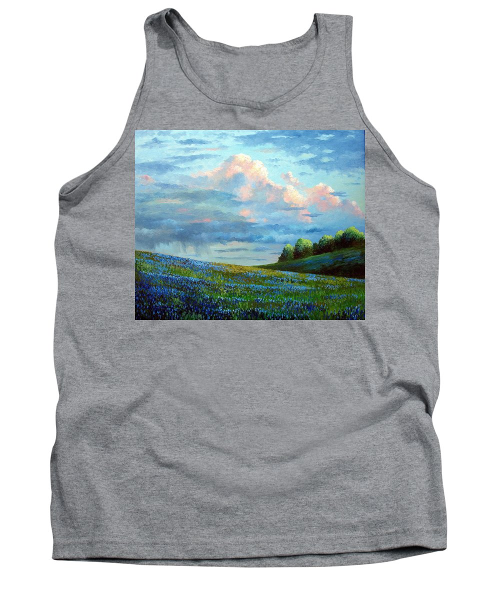 Landscape Tank Top featuring the painting Evening Rain by David G Paul