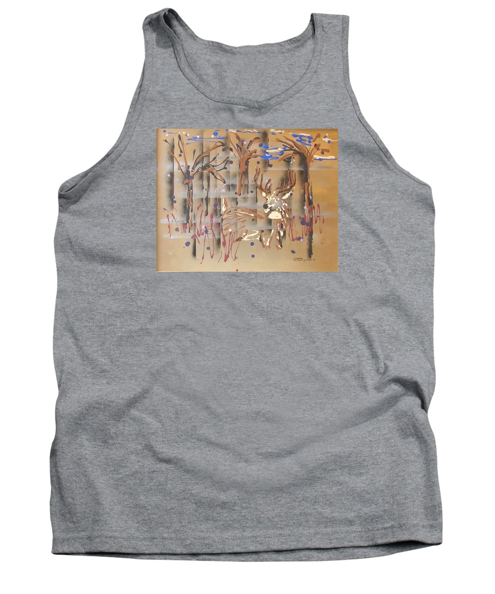 Buck In Tree Line Tank Top featuring the painting Everwatchful by J R Seymour