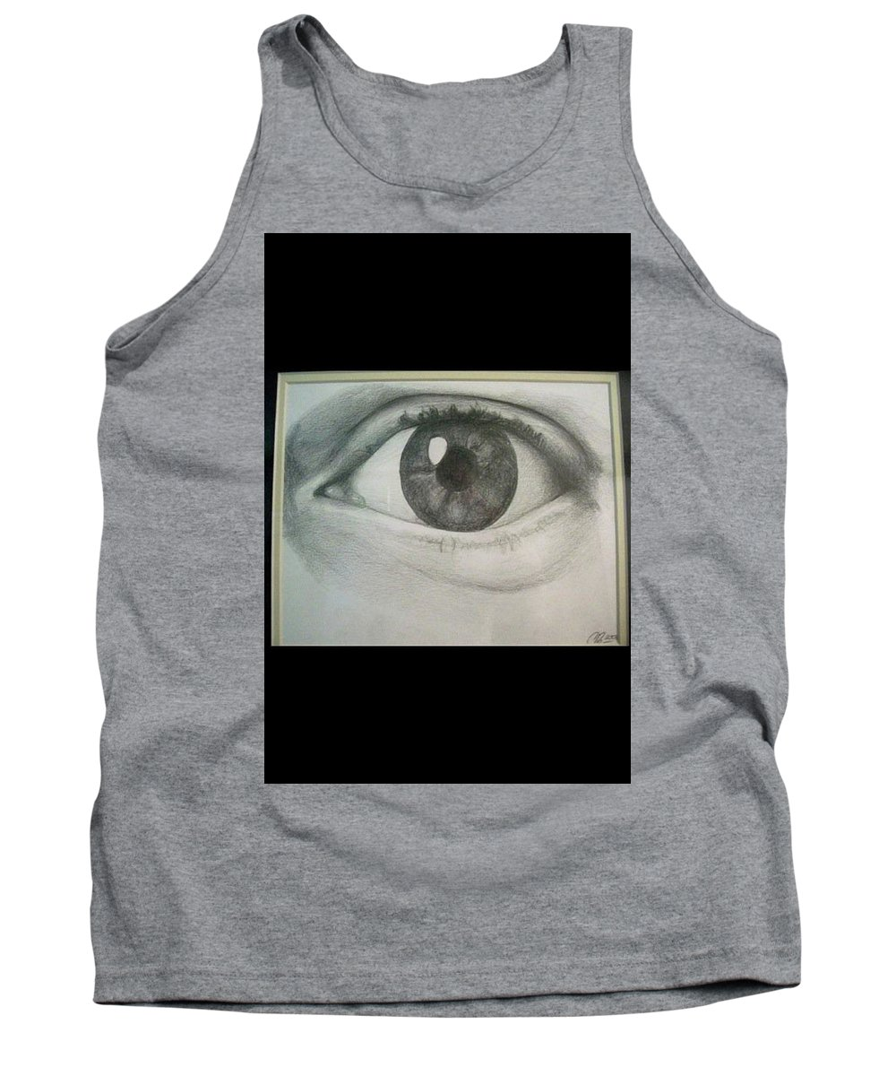 Portrait Tank Top featuring the drawing Eye Portrait by Christopher Denham
