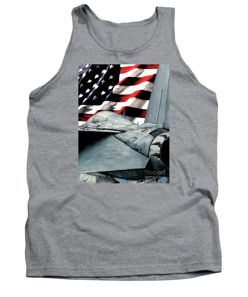 F-14 Tank Top featuring the painting F-14 And Flag by Shari Nees