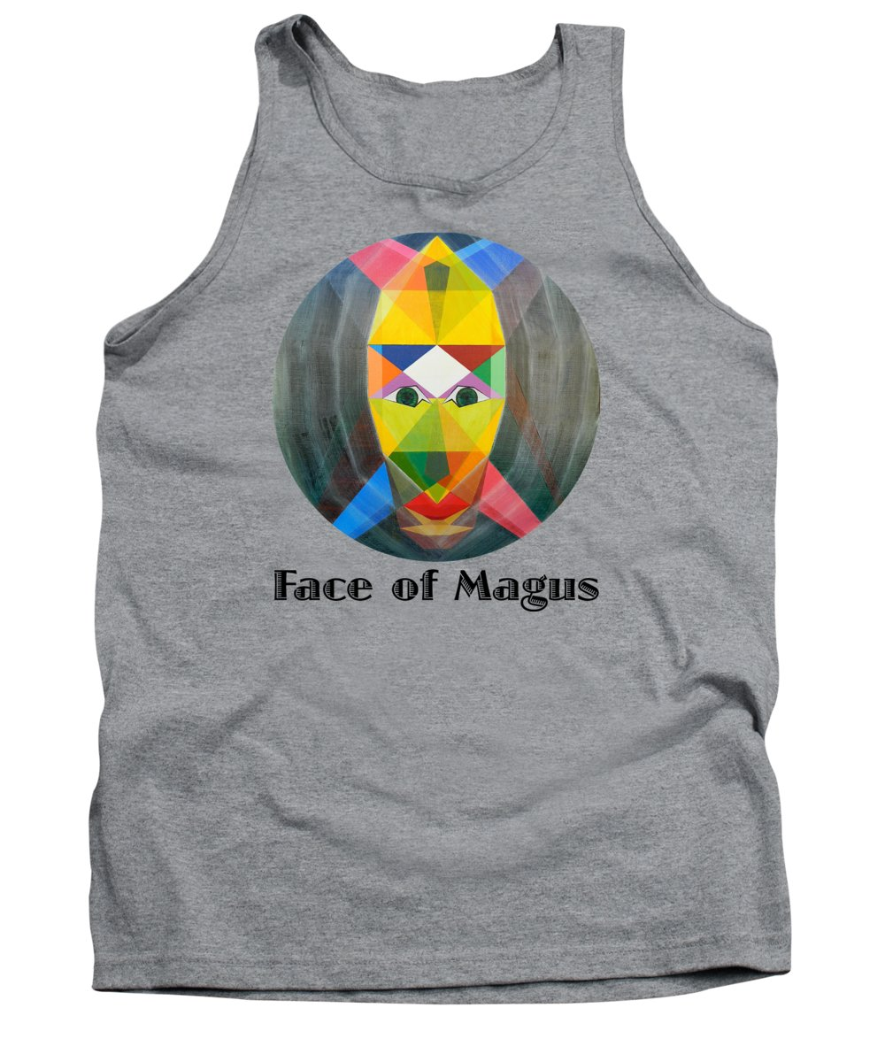 Painting Tank Top featuring the painting Face of Magus text by Michael Bellon
