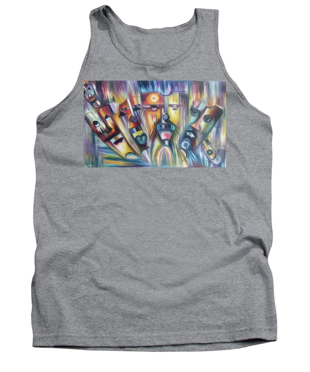 Colorful Tank Top featuring the painting Facial Expression Colorful by Olaoluwa Smith