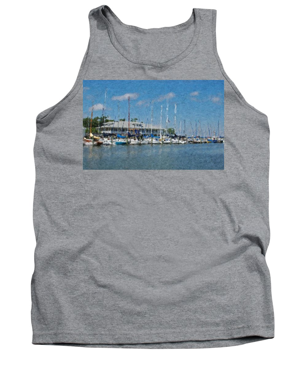 Fairhope Tank Top featuring the painting Fairhope Yacht Club Impression by Michael Thomas