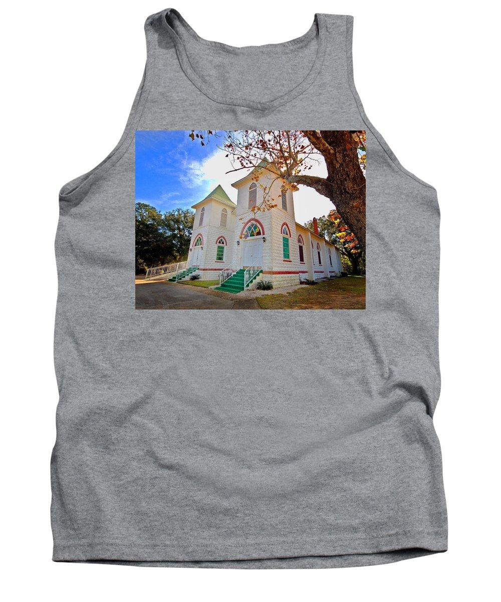 Church Tank Top featuring the painting Fairhope Zion Church by Michael Thomas