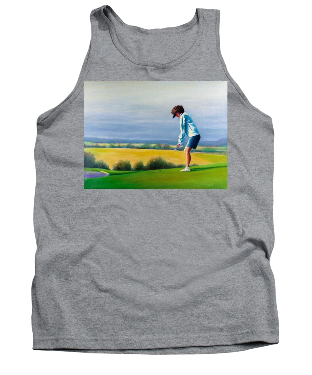 Golfer Tank Top featuring the painting Fairy Golf Mother by Shannon Grissom