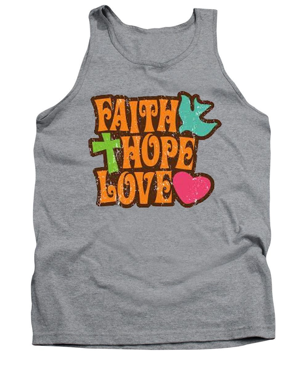 Tank Top featuring the painting Faith Hope Love T-shirt by Herb Strobino