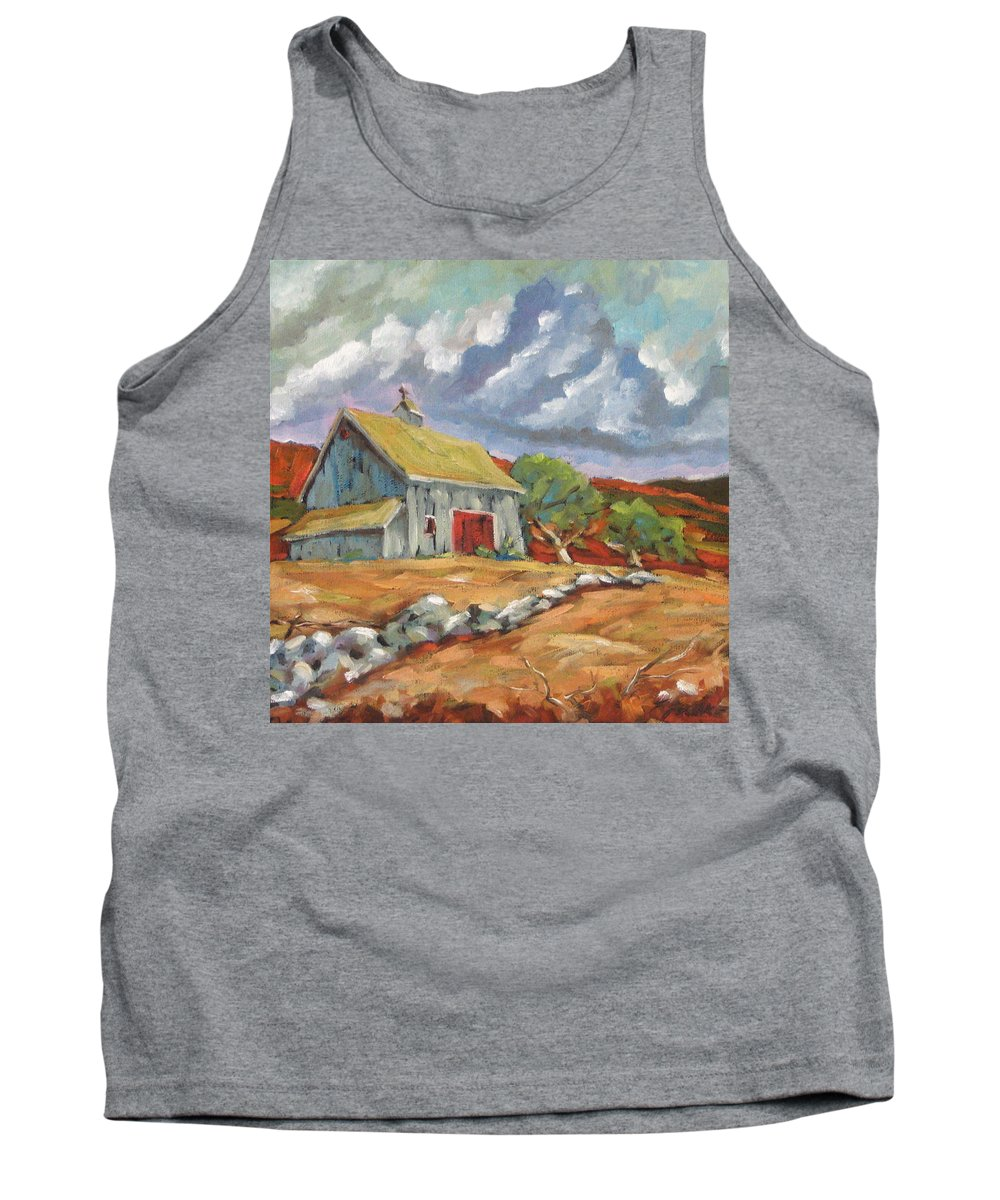Farm Tank Top featuring the painting Fall Scene by Richard T Pranke