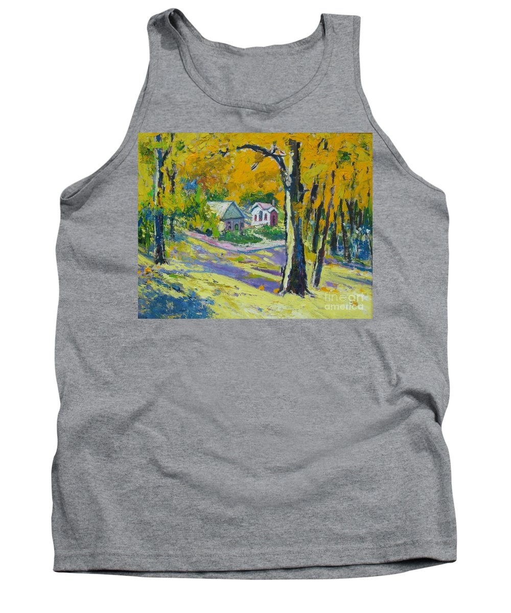 Trees Tank Top featuring the painting Fall scenery by Meihua Lu