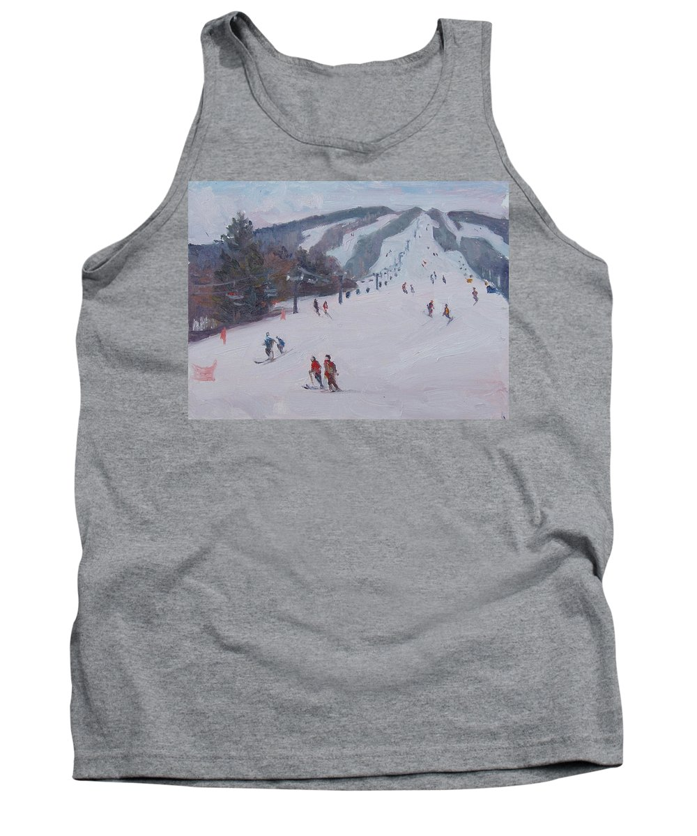 Landscape Tank Top featuring the painting Family Ski by Dianne Panarelli Miller