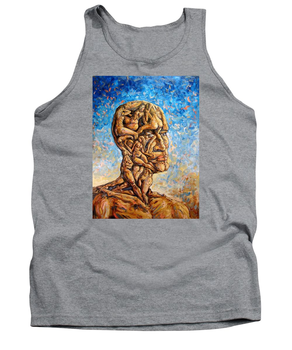 Surrealism Tank Top featuring the painting Fantasies Of A 120 Years Old Man Struggling To Survive by Darwin Leon