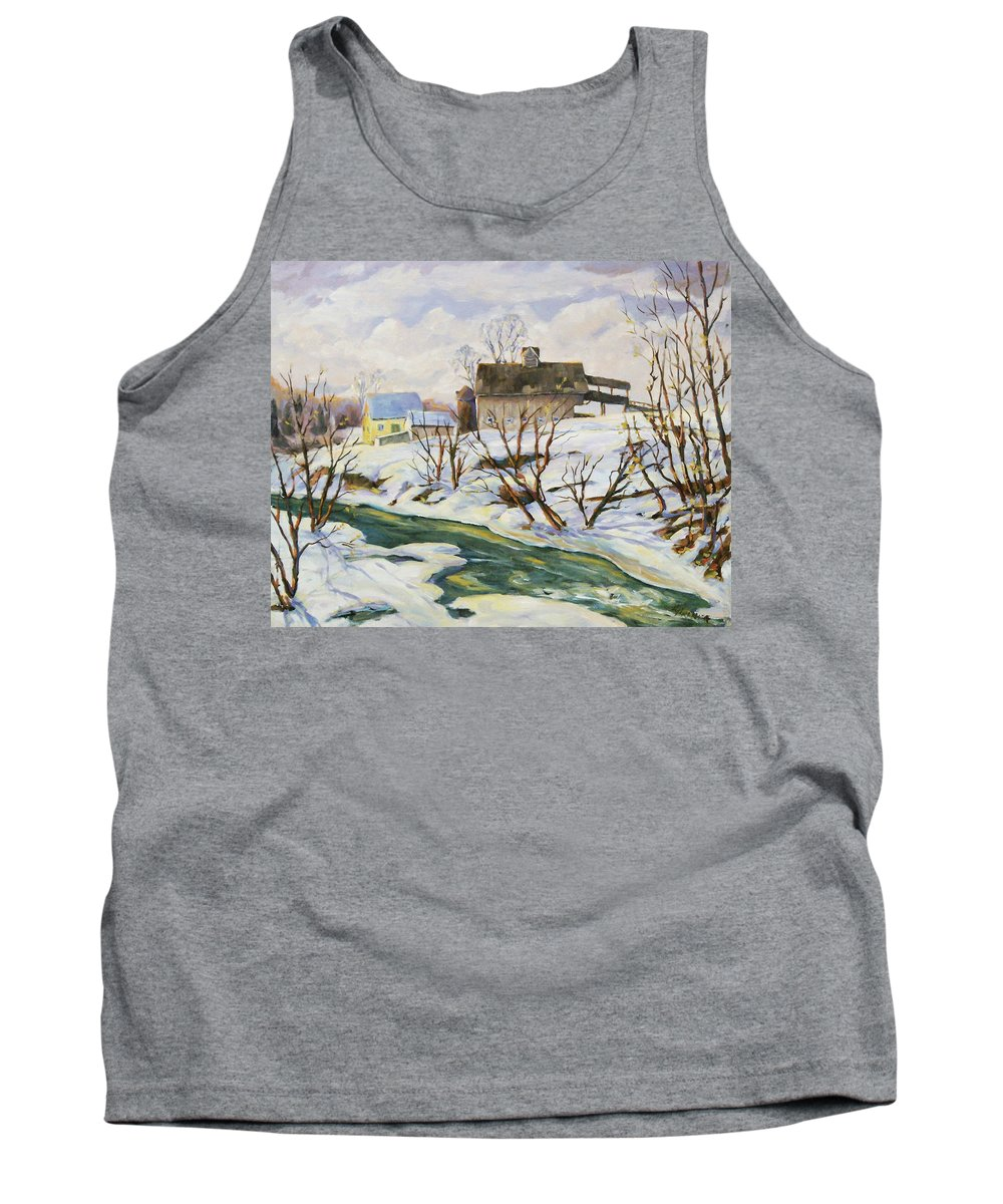 Farm Tank Top featuring the painting Farm In Winter by Richard T Pranke