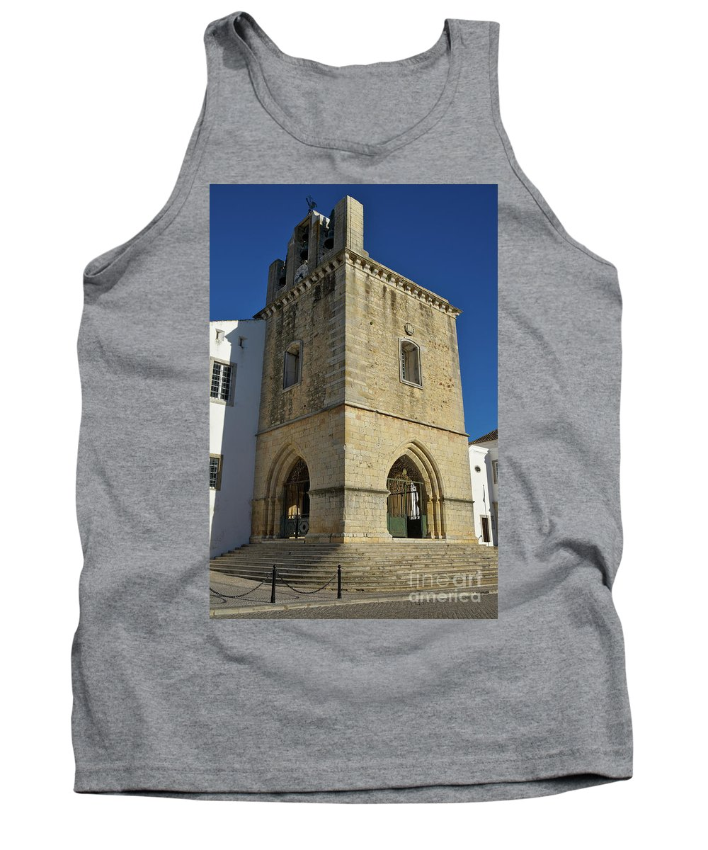 Faro Tank Top featuring the photograph Faro Main Church Bells Tower by Angelo DeVal
