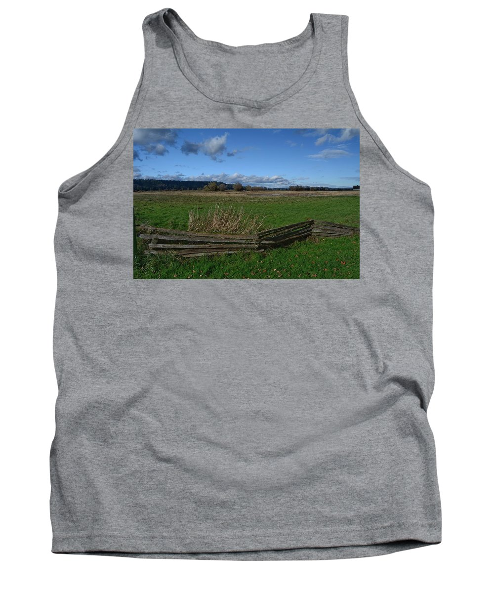 Fence Tank Top featuring the photograph Fence And Open Field by Frank Morris
