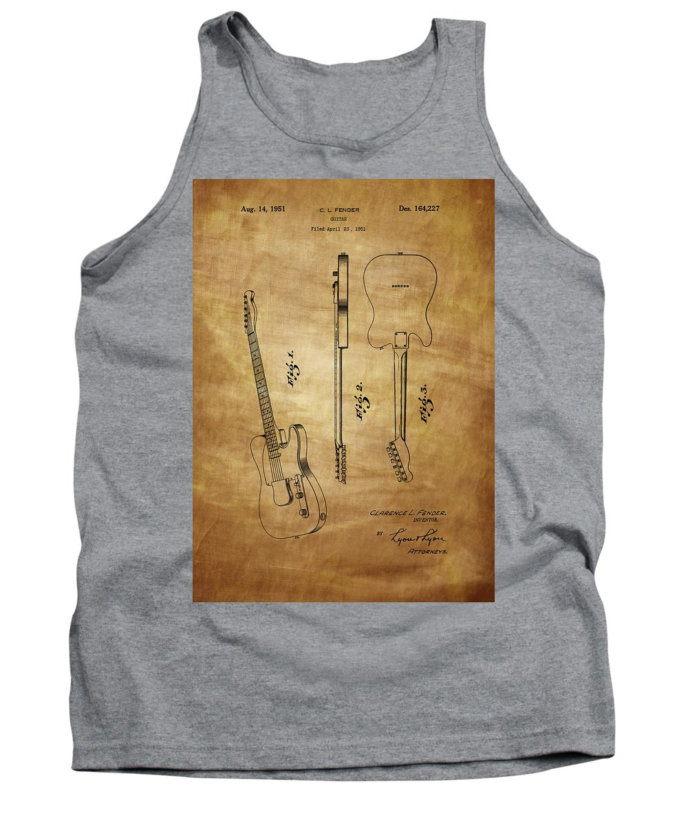 Fender Tank Top featuring the photograph Fender Guitar Patent From 1951 by Chris Smith