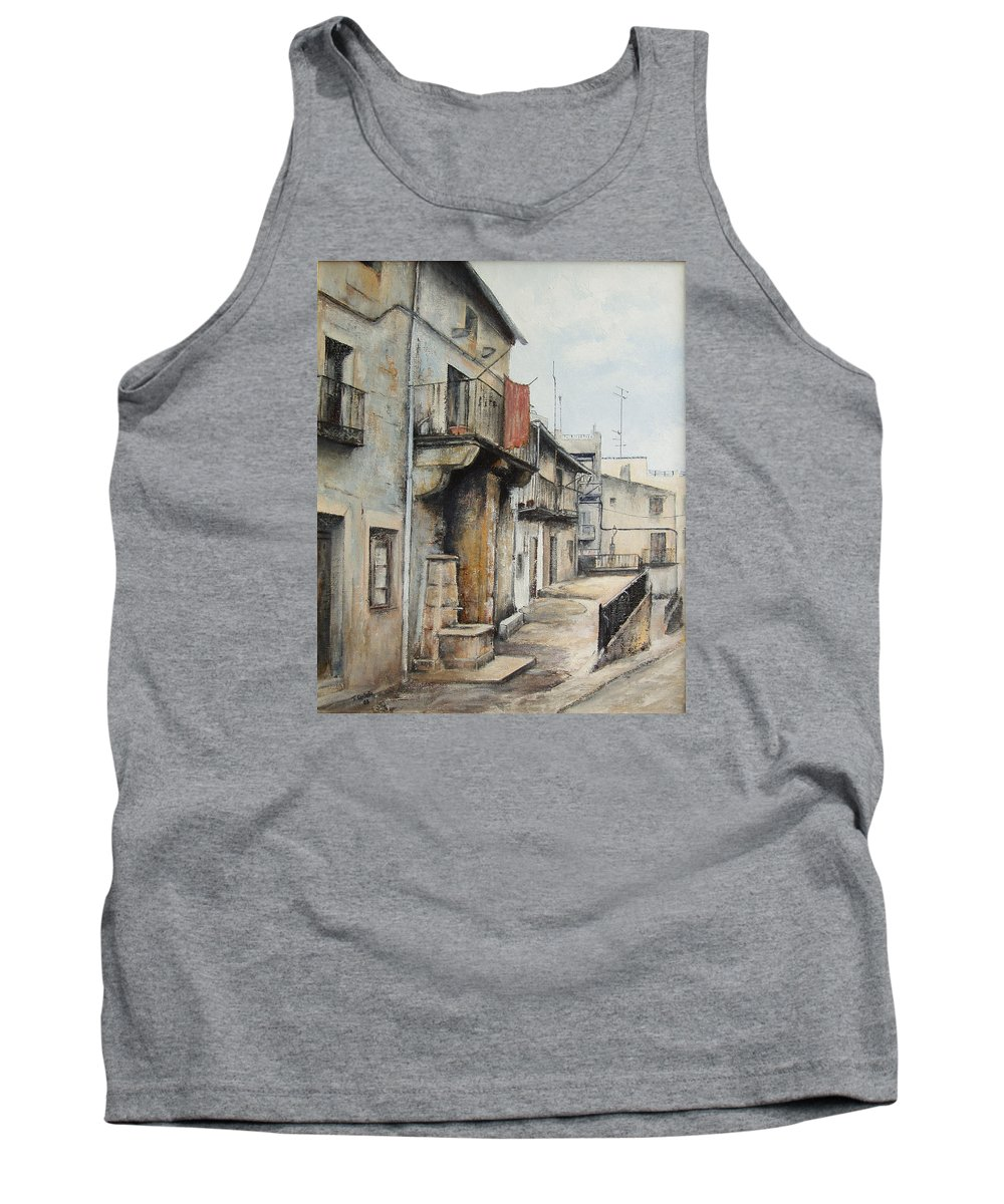 Fermoselle Zamora Spain Oil Painting City Scapes Urban Art Tank Top featuring the painting Fermoselle by Tomas Castano