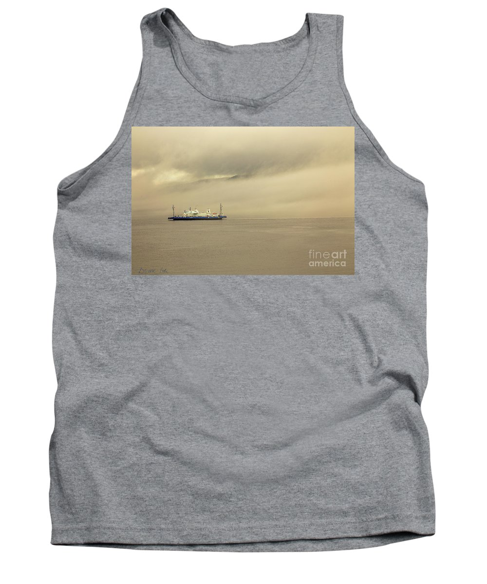 Canada Tank Top featuring the photograph Ferry In The Fog by Csaba Demzse