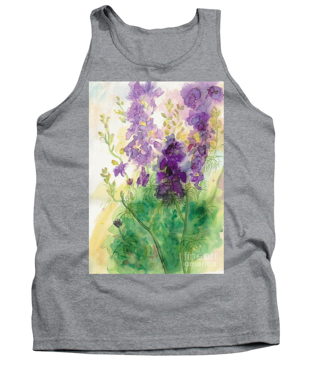 Watercolor Tank Top featuring the painting Field Of Purple by Vicki Housel