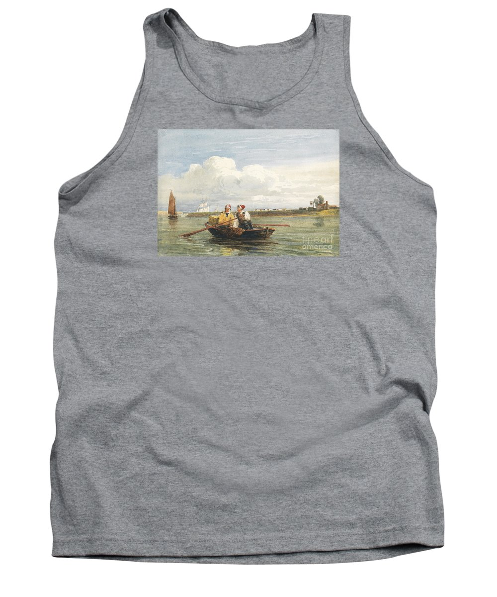 David Cox Snr (1783�1859) Figures In A Boat On The Thames Tank Top featuring the painting Figures In A Boat On The Thames, Gravesend by Celestial Images