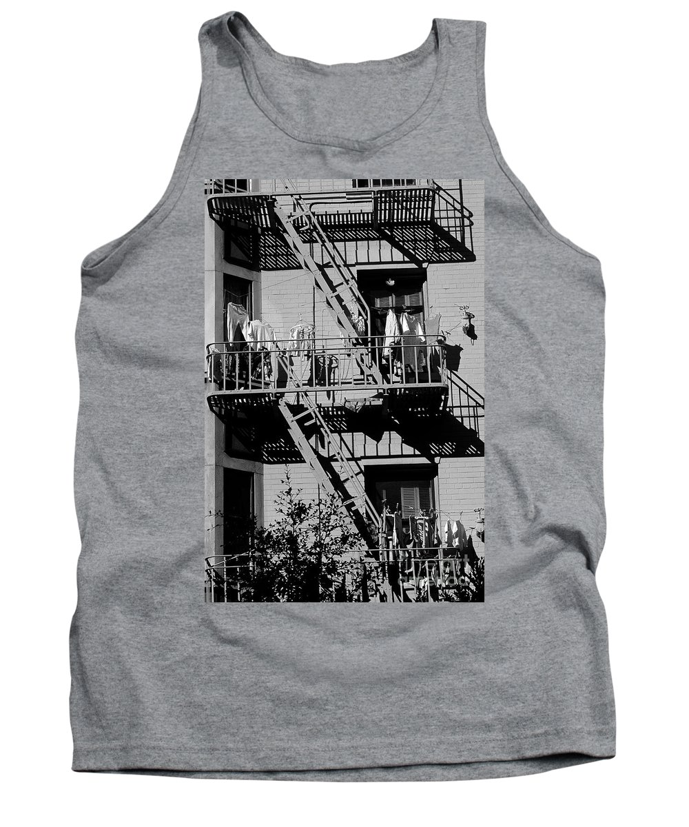 Travel Tank Top featuring the photograph Fire Escape With Clothes Hung To Dry by Jim Corwin