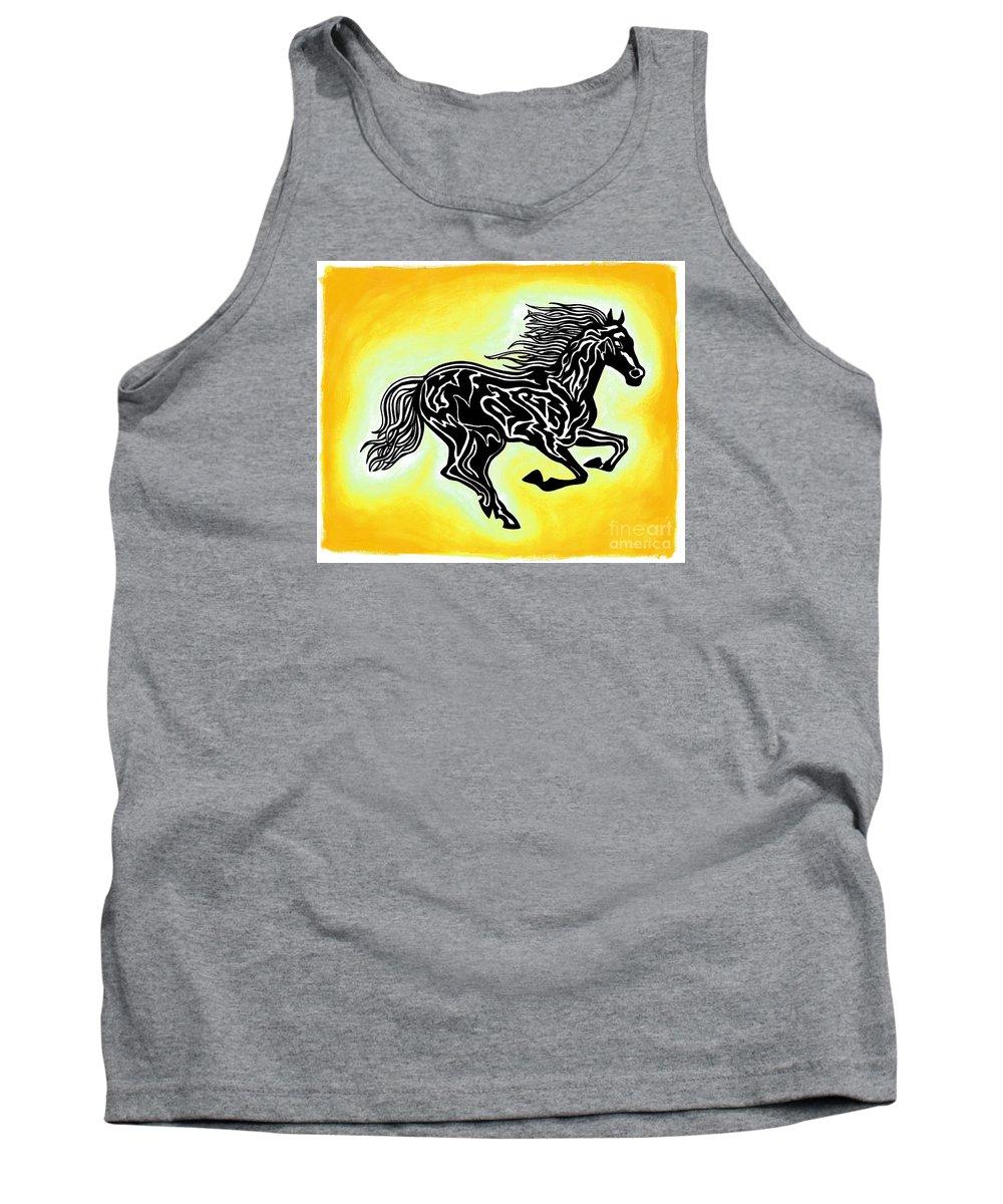 Horses Tank Top featuring the painting Fire Horse 3 by Peter Paul Lividini