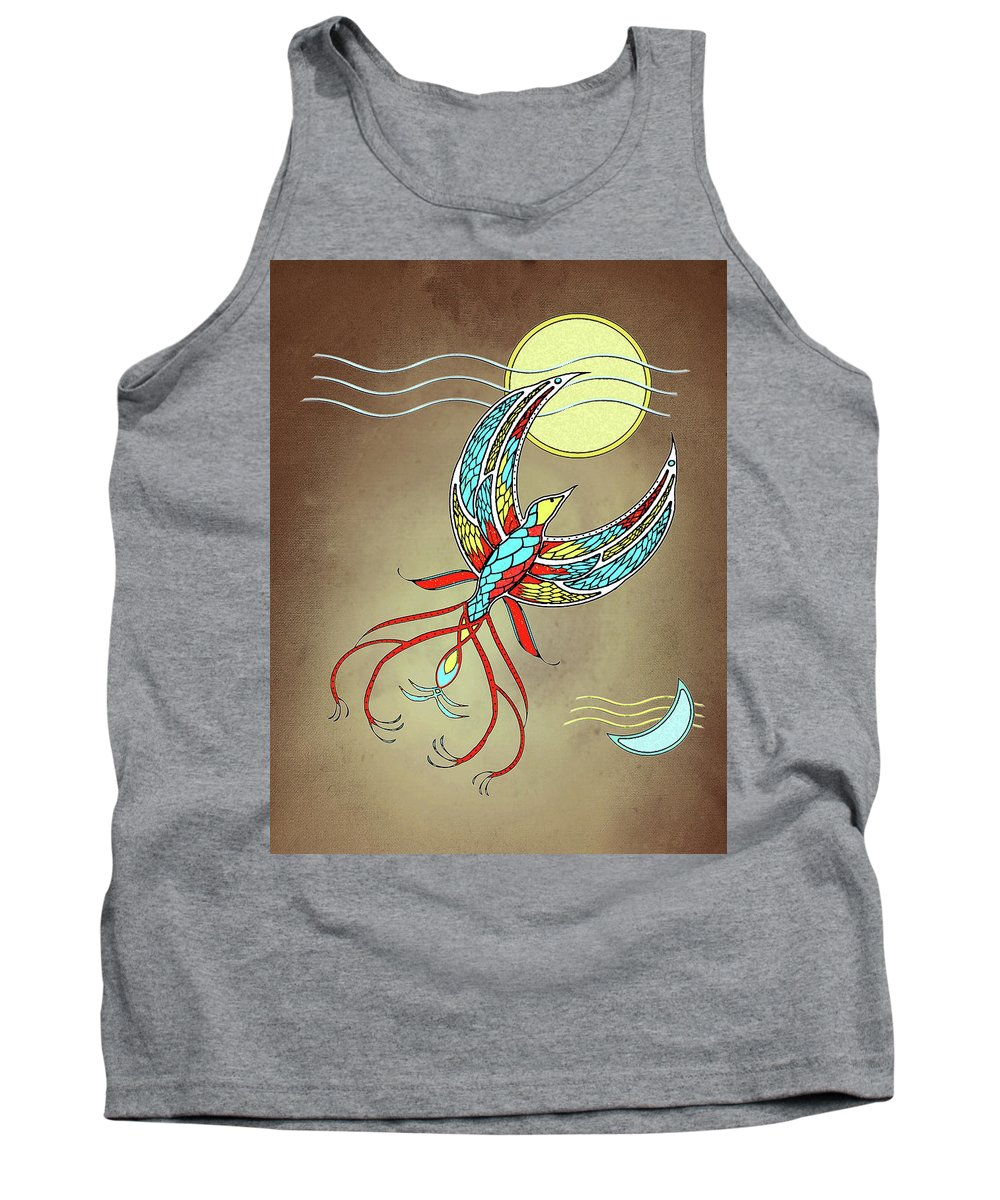 Abstract Tank Top featuring the mixed media Firebird With Sun And Moon by Deborah Smith